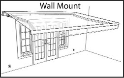 Wall mount awning